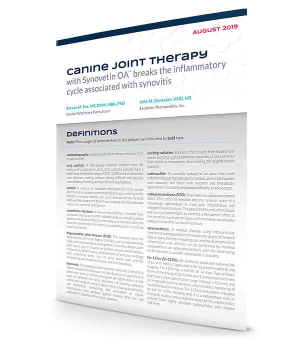 """Canine joint therapy with Synovetin OA™ has early disease-modifying effects by breaking the inflammatory cycle associated with synovitis"" Technical Bulletin"
